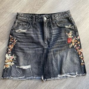 Abercrombie Embroidered Jean Skirt